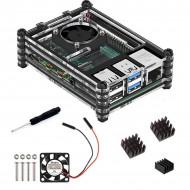 9 Layers Black Acrylic Case for Raspberry Pi 4